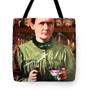 Madame Marie Curie Shaking Up A Killer Martini At The Swank Hipster Club 88 20140625 With Text Tote Bag