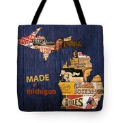 Made In Michigan Products Vintage Map On Wood Tote Bag