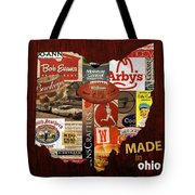 Made In Ohio Products Vintage Map On Wood Tote Bag