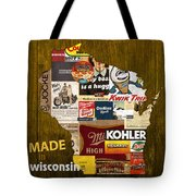 Made In Wisconsin Products Vintage Map On Wood Tote Bag