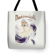 Mademoiselle Cover Featuring A Woman In A Gown Tote Bag by Helen Jameson Hall