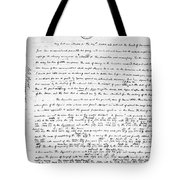 Madison To Jefferson, 1787 Tote Bag
