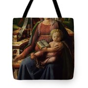 Madonna And Child Enthroned With Two Angels Tote Bag