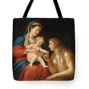 Madonna And Child With Mary Magdalene  Tote Bag