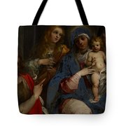 Madonna And Child With Saints John The Baptist With Mary Magdalene And Anne Tote Bag by Guiseppe Cesari