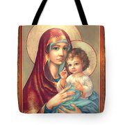 Madonna And Sitting Baby Jesus Tote Bag by Zorina Baldescu