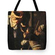 Madonna Dei Pellegrini Or Madonna Of Loreto Tote Bag by Michelangelo Merisi da Caravaggio