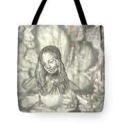 Madonna On Black And White Screen Tote Bag