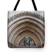 Madonna With Child On Matthias Church Tympanum Tote Bag