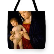 Madonna With The Child Blessing Tote Bag by Giovanni Bellini