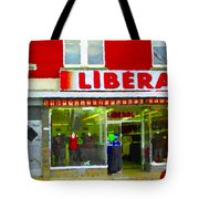Magazin Liberal Dress Shop On Rue Notre Dame Montreal St.henri City Scenes Carole Spandau Tote Bag
