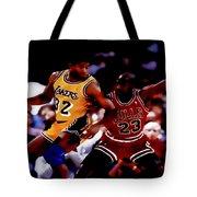 Magic And Jordan At Work Tote Bag