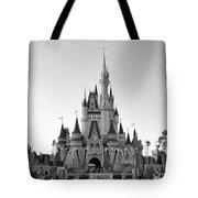 Magic Kingdom Castle In Black And White Tote Bag
