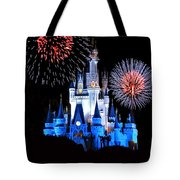 Magic Kingdom Castle In Blue With Fireworks Tote Bag