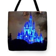 Magic Kingdom Castle In Deep Blue With Fireworks Tote Bag