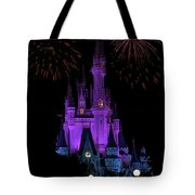 Magic Kingdom Castle In Purple With Fireworks 01 Tote Bag