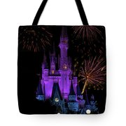 Magic Kingdom Castle In Purple With Fireworks 02 Tote Bag