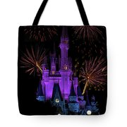 Magic Kingdom Castle In Purple With Fireworks 03 Tote Bag