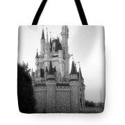 Magic Kingdom Castle Side View In Black And White Tote Bag