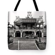 Magic Kingdom Train Station In Black And White Walt Disney World Tote Bag