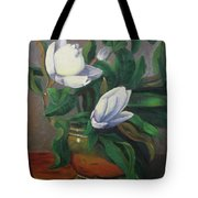 Magnolias On Brass Tote Bag by Lilibeth Andre