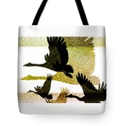 Magpie Geese In Flight Tote Bag by Holly Kempe