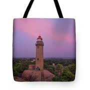 Mahabalipuram Lighthouse India At Sunset Tote Bag