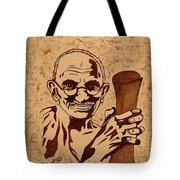 Mahatma Gandhi Coffee Painting Tote Bag