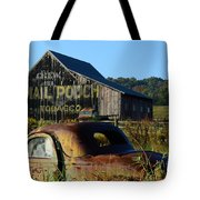 Mail Pouch Barn And Old Cars Tote Bag