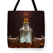 Main Building Of Moscow State University At Winter Evening - 2 Featured 3 Tote Bag