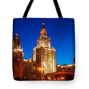 Main Building Of Moscow State University At Winter Evening - 4 Tote Bag