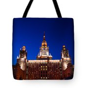 Main Building Of Moscow State University At Winter Evening - 5 Tote Bag