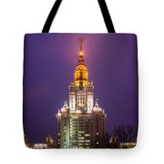 Main Building Of Moscow State University At Winter Evening - Featured 3 Tote Bag