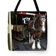 Main Street Horse And Trolley Tote Bag