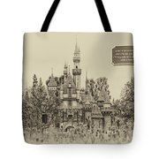Main Street Sleeping Beauty Castle Disneyland Heirloom 03 Tote Bag