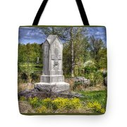Maine At Gettysburg - 5th Maine Volunteer Infantry Regiment Just North Of Little Round Top Tote Bag by Michael Mazaika