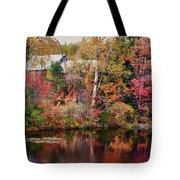 Maine Barn Through The Trees Tote Bag by Jeff Folger