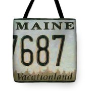 Maine License Plate Tote Bag