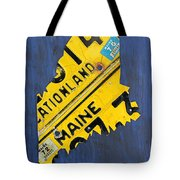 Maine License Plate Map Vintage Vacationland Motto Tote Bag by Design Turnpike
