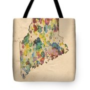 Maine Map Vintage Watercolor Tote Bag