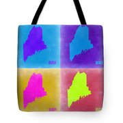 Maine Pop Art Map 2 Tote Bag by Naxart Studio