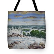 Crashing Waves At Pemaquid Point Maine Tote Bag