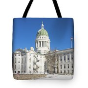 Maine State Capitol Building In Winter Augusta Tote Bag
