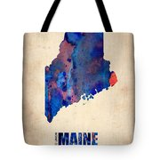Maine Watercolor Map Tote Bag by Naxart Studio