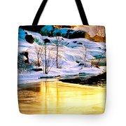 Maine Winter Along The Androscoggin River Tote Bag