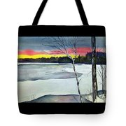 Maine Winter Sunset Tote Bag