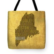 Maine Word Art State Map On Canvas Tote Bag
