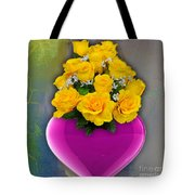 Majenta Heart Vase With Yellow Roses Tote Bag