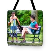 Making A New Friend In The Park Tote Bag