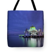 Malacca Straits Mosque At Blue Hour Tote Bag